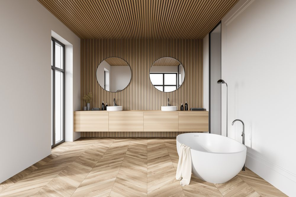 Egg shaped bathtub on cross hatch floor