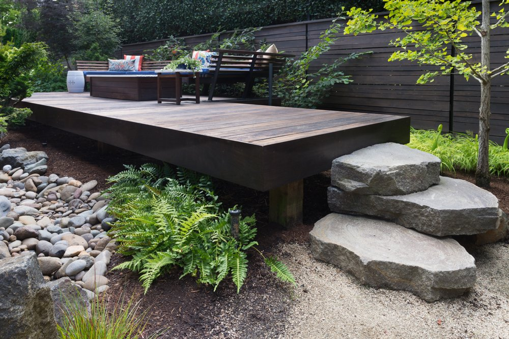 Outside deck with giant flat stones for stars