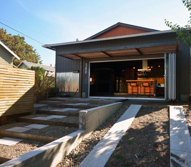 House with beautiful motorized blind-style sliding door
